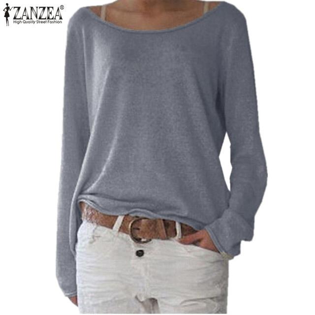 9e11067ebc ZANZEA Women Long Sleeve T Shirt Plus Size Tops 2018 Autumn Ladies O neck  Loose Knitted