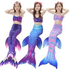 4PCS / Set Swimmable Gyerekek Dianonds Mermaid farok Monofin fin lányok Gyerekek fürdőruha hableány hátul ruha lányok Úszás