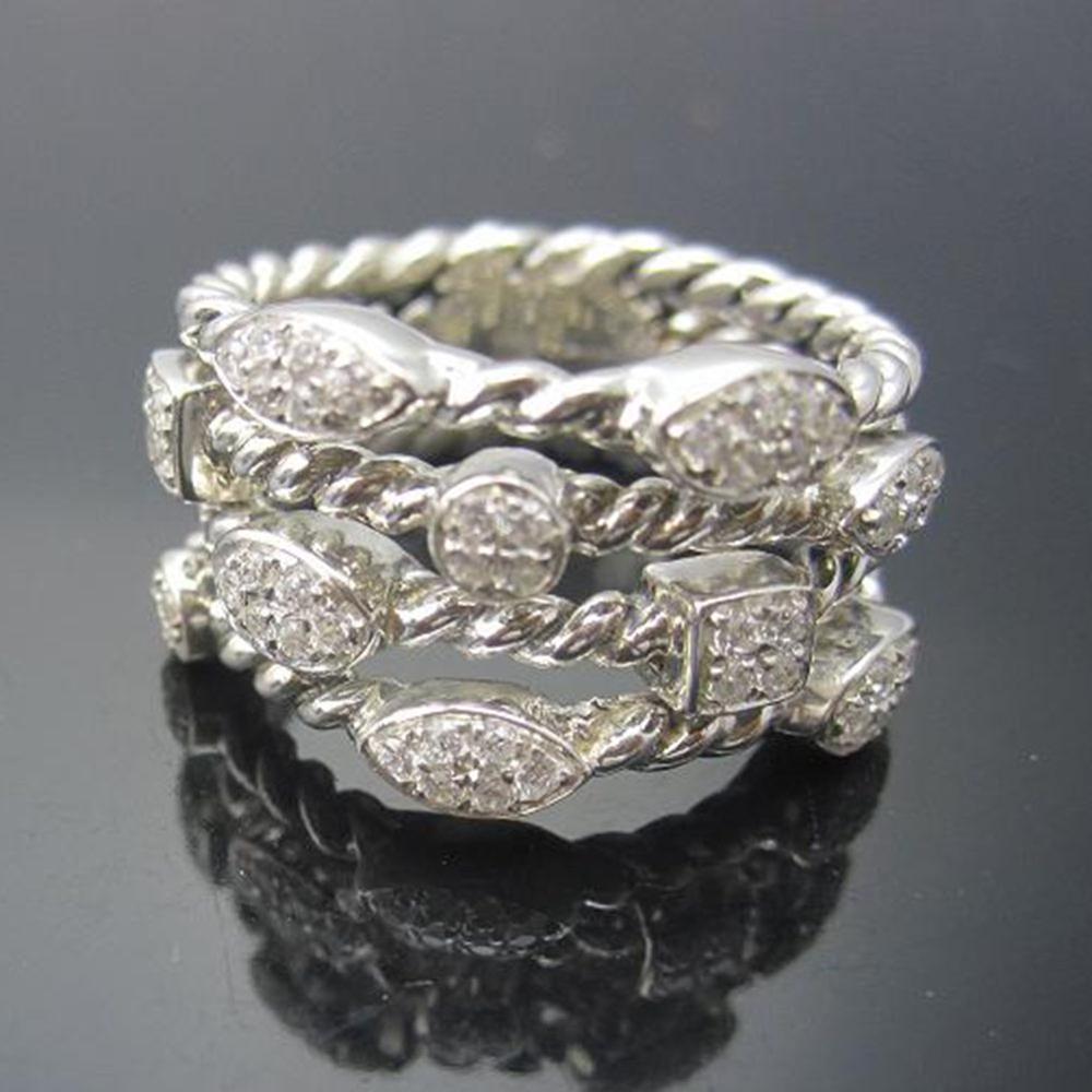 Bijoux en argent Sterling massif pavé de diamants à quatre rangées de confettis bague de glace Design marque bijoux en argent Wormen RingThanksgiving cadeaux - 5