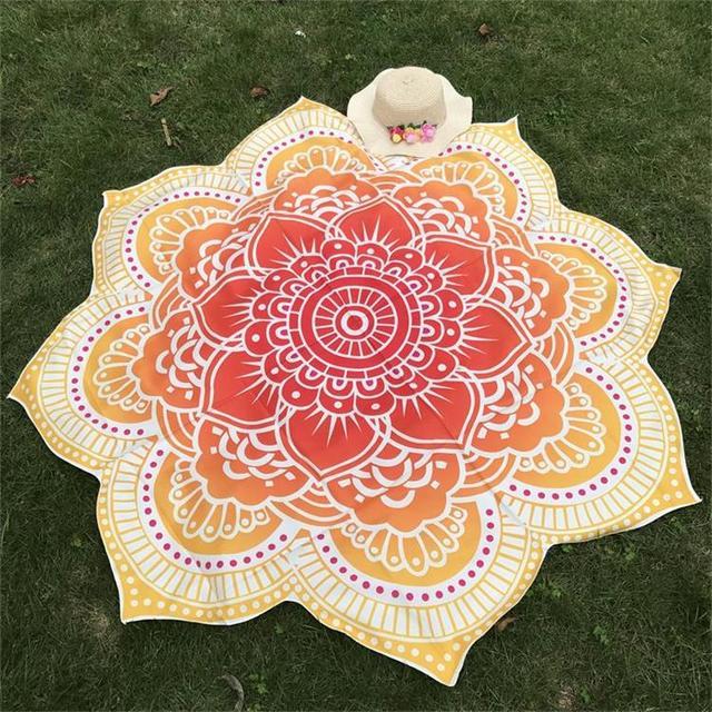 Glorious Lotus Flower Shape Indian Mandala Tapestry Wall Hanging Beach Throw Mat Hippie Bedspread Gypsy Yoga Mat Blanket 150 cm