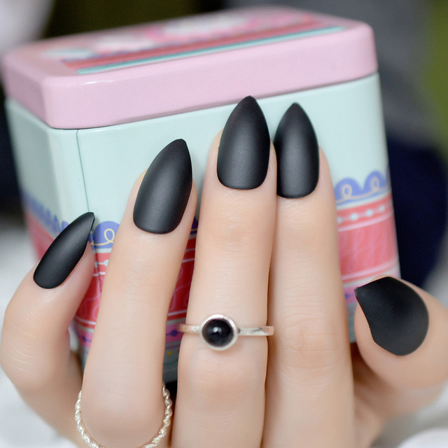 Sharp Black Matte Nail Art Medium Easy Diy Almond Design Stiletto Acrylic Salon Nails For Finger