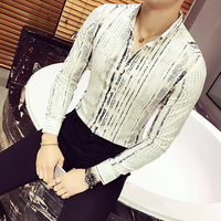 2018 clothes Luxury Gold Shirt Men Long Sleeve Black White Navy Party Club Sexy Night Bar Stage Clothing Male Shirt iceland