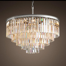 American Multi layer Crystal chandeliers light Hanging Light LED Chrome body Round  Living Room Sitting Retro Dining chandelier