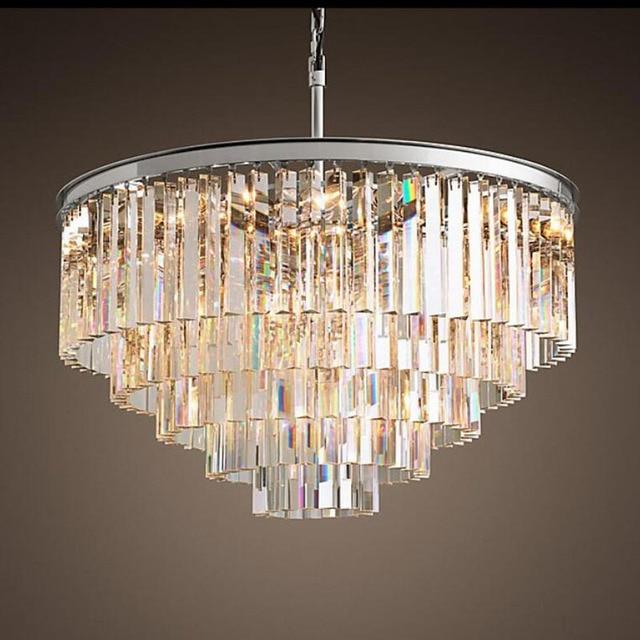 Amerikanischen Multi schicht Kristall kronleuchter licht Hängen Licht LED Chrome körper Runde Wohnzimmer Sitzen Retro Esszimmer kronleuchter