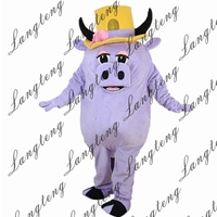 2018 New Hot Sale Light purple pig Mascot Costume Adult Size Halloween Outfit Fancy Dress Suit Free Shipping