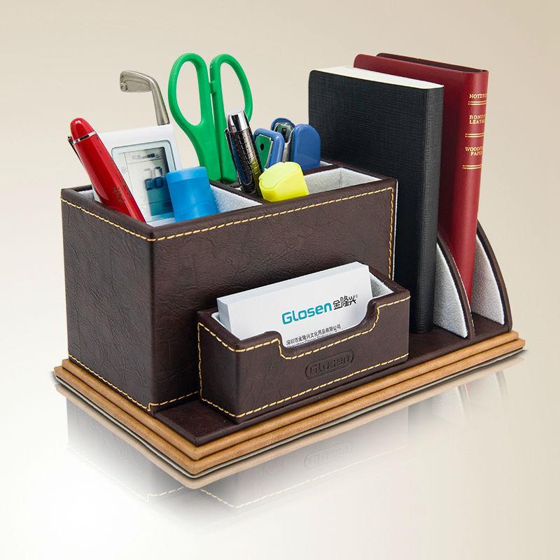 Multifunction Creative Wooden Leather Remote Control Pen Holder Cute Pencil Case Desktop Cosmetic Stationery Organizer Desk Set