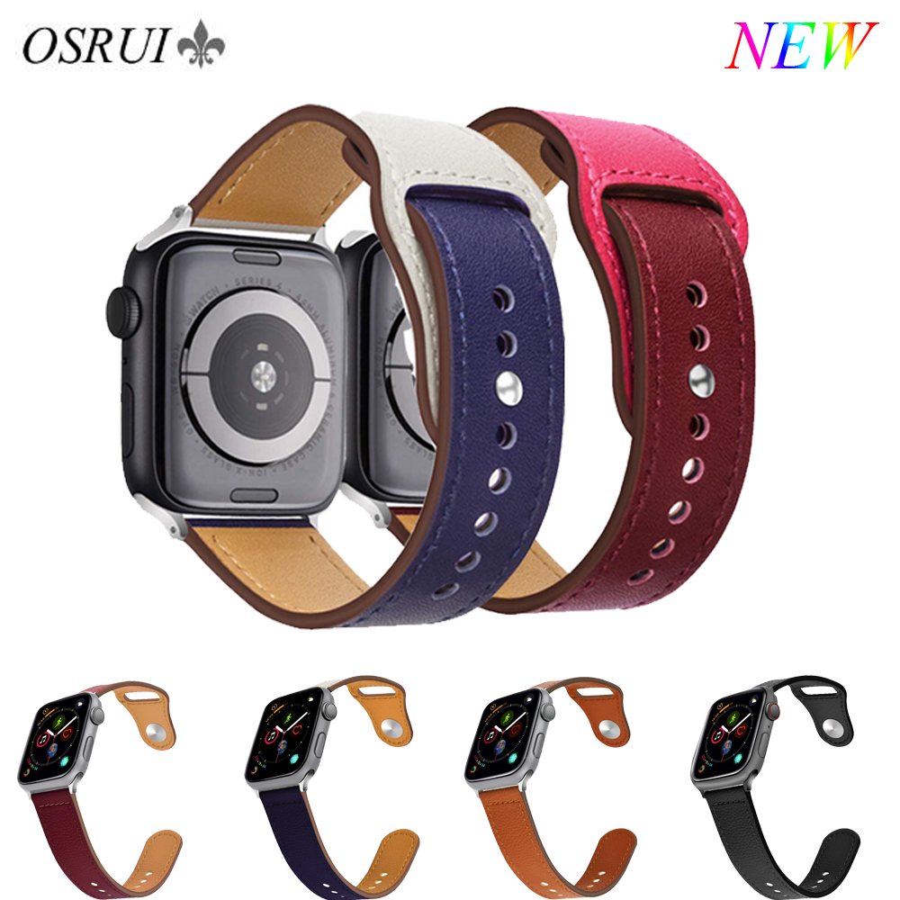 OSRUI Leather strap For Apple Watch band 44mm 42mm iwatch straps 38mm 40mm series 4 3 Wristband bracelet belt watch AccessoriesOSRUI Leather strap For Apple Watch band 44mm 42mm iwatch straps 38mm 40mm series 4 3 Wristband bracelet belt watch Accessories