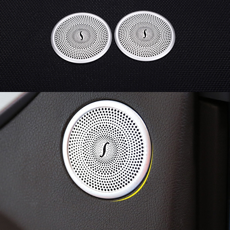 Car Door Audio Speaker Ring Decoration Auto Door Speaker Net Ring Cover Trim For <font><b>Mercedes</b></font> <font><b>Benz</b></font> ML <font><b>GL</b></font> GLE W166 <font><b>X166</b></font> <font><b>Accessories</b></font> image