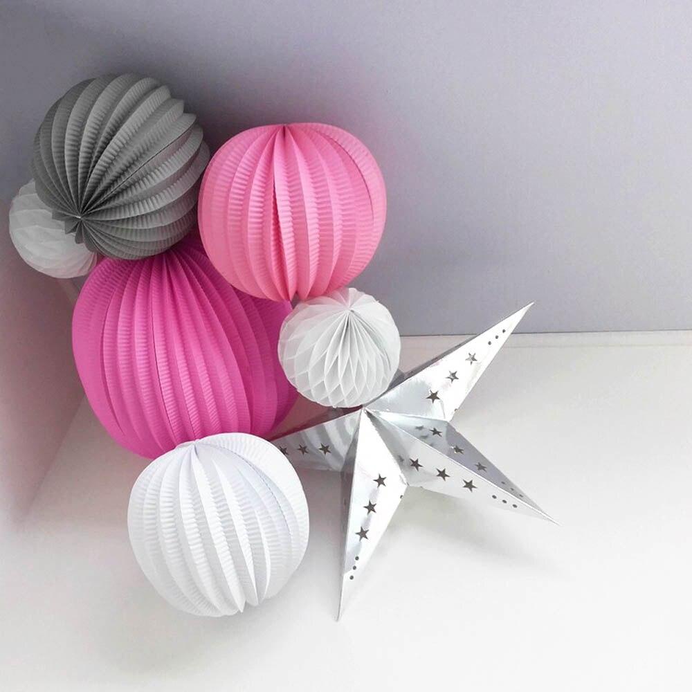 7pcs (Pink,Grey,White) Party Decoration Set Pleated Paper Lanterns ...