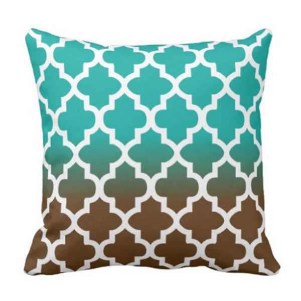 Teal Chair Covers Round Bubble Turquoise Brown Blend Quatrefoil Cushion Cover Geometric Blue Throw Pillow Case Decorative Gift