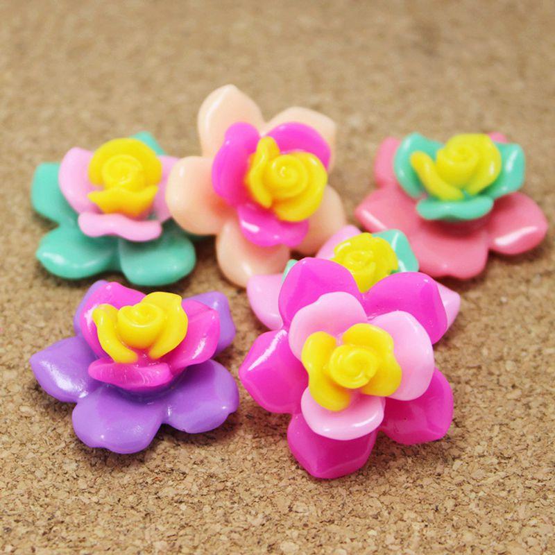 24 Pcs 3 color flower Resin Flatback Cabochon Scrapbook Embellishment DIY Phone Decoration 28mm 009005105