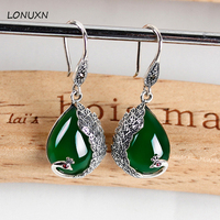 A pairs 3.8cm green girl Natural semi precious stones yellow chalcedony Earrings Vintage 925 Silver Peacock female women jewelry