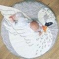 95 CM Cisne de la Historieta Manta de Bebé de Algodón Swaddle Me Juegos Gateando Pad Manta Redonda Alfombra de Los Niños Decoración de La Habitación de Cama