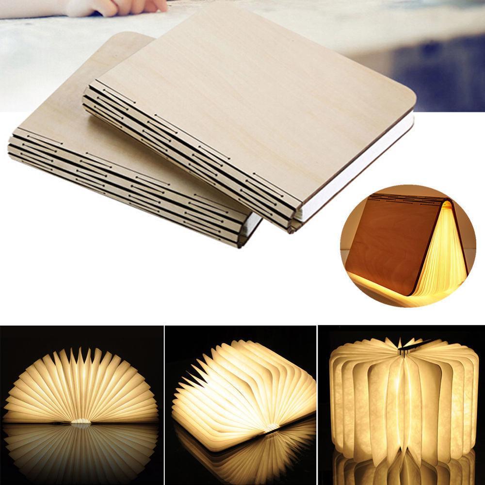 Фотография 2Pcs Wooden Folding LED Nightlight Booklight USB Rechargeable Book Lamp Gift Hot
