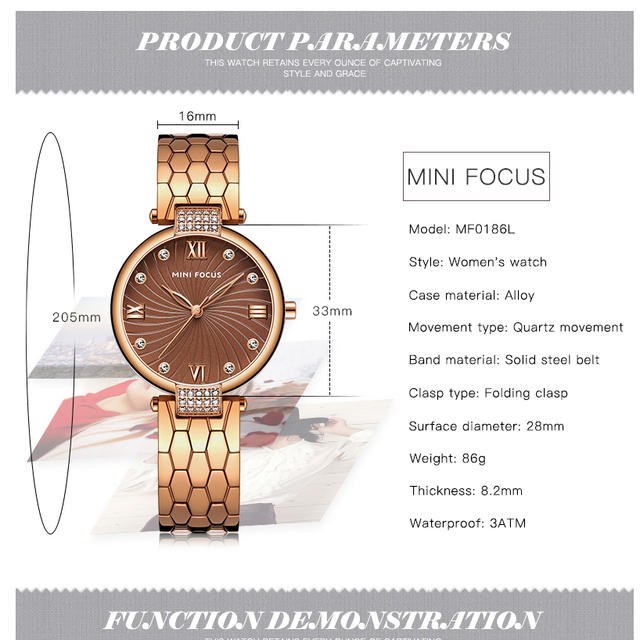 MINIFOCUS Women Watches Top Brand Luxury Waterproof Rhinestones Ladies Wrist Watch Gold Dress Quartz Clock Girl Relogio Feminino