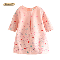 New 2017 Girls Spring Baby Dress Kids Clothes Girls Party Dress Children Clothing Pink Princess Flower