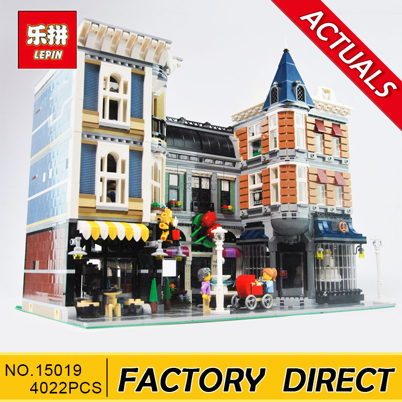 Lepin 15019 4002pcs MOC Creative Series The Assembly Square Set Building Blocks Bricks Toys Small piece block 10255 in stock with light 15019b 4122pcs lepin 15019 4002pcs assembly square city serie model building kits brick toy compatible 10255