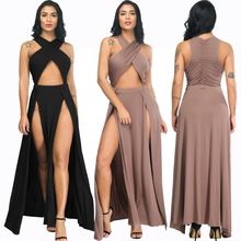 New hot fashion personality temperament irregular opening sling neck high waist casual sexy ladies dress