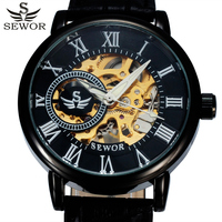 SEWOR Luxury Brand Black Skeleton Mechanical Watch Men Leather Wristwatches Casual Mens Watches Clock Men Montre