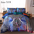 JaneYU BeddingOutlet 3 Pieces 3D Elephant Bedding Set Bohemia King Duvet Cover with Pillow Case Colorful Printed Bed Set cover