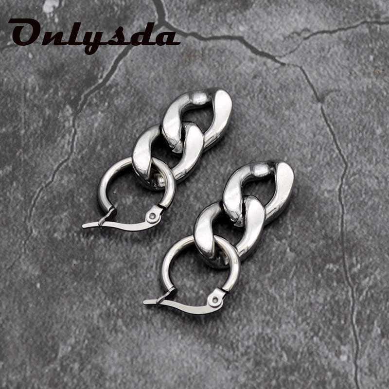 Onlysda Panjang Tebal Link Rantai Anting-Anting untuk Wanita Emas Warna Perak Stud Anting-Anting Zirkonia Telinga Pria/Wanita Perhiasan Hadiah ES116
