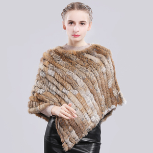 Image 2 - Poncho de piel de conejo auténtico para mujer, chal de piel de conejo auténtico, bufanda de punto elástica, Pashmina de piel de conejo Natural auténtica para fiesta