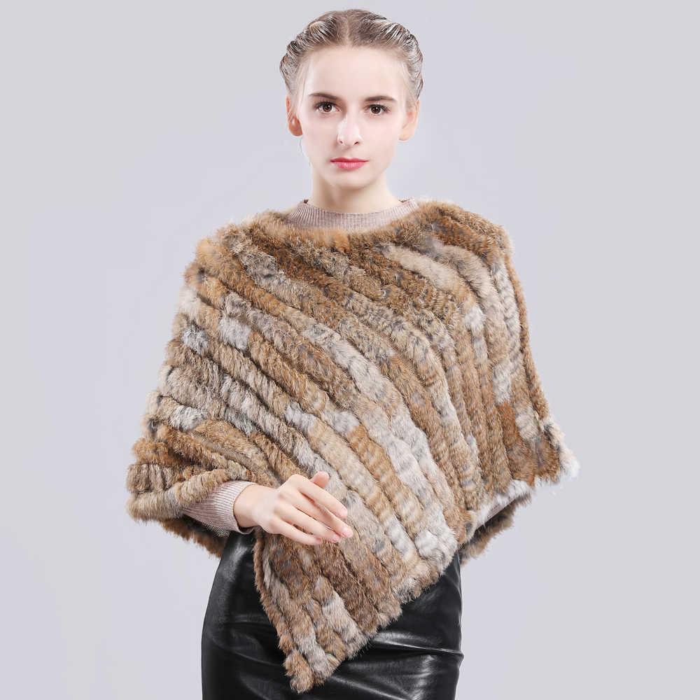 Thời trang Bất Rabbit Fur Poncho Genuine Bất Rabbit Fur Khăn Choàng Khăn Khăn Dệt Kim Đàn Hồi Phụ Nữ Đảng Bất Thỏ Tự Nhiên Lông Thú Pashmina