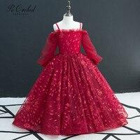 PEORCHID 2019 Burgundy Flower Girl Dresses For Weddings Ball Gown Kids Glitter Sequin Vestido Menina Flor Girl's Formal Dress