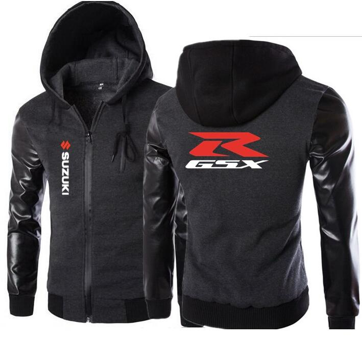 Autumn Winter Warm SUZUKI Hoodie Leather Sleeve Slim Jacket Fleece Motorcycle Hoodies Men Sweatshirt Male Hoody Bomber Tracksuit