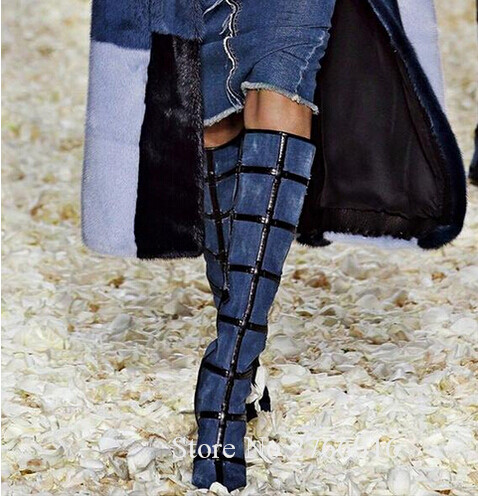 b5f9d9d523e7 Fashion Winter Warm Blue Black Denim Long Boots Round toe Chunky heels Knee  high Gingham Caged Women Boots Shoes Woman Size 42