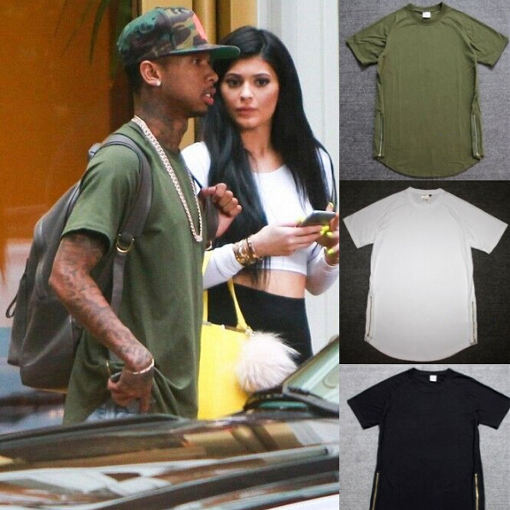 Black t shirt with zipper - Kanye West Hip Hop T Shirt Fashion Tyga Gold Side Zipper 100 Cotton Swag T