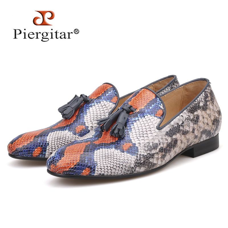 Piergitar brand 2019 Cow Leather of Snake pattern men tassel casual shoes Men s Loafers Party