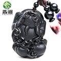 Wonderful Handwork Esculpido Natural Preto Obsidian Bravos Soldados Animal Auspicioso Bênção Sorte Pingente de Colar de Jóias de Moda
