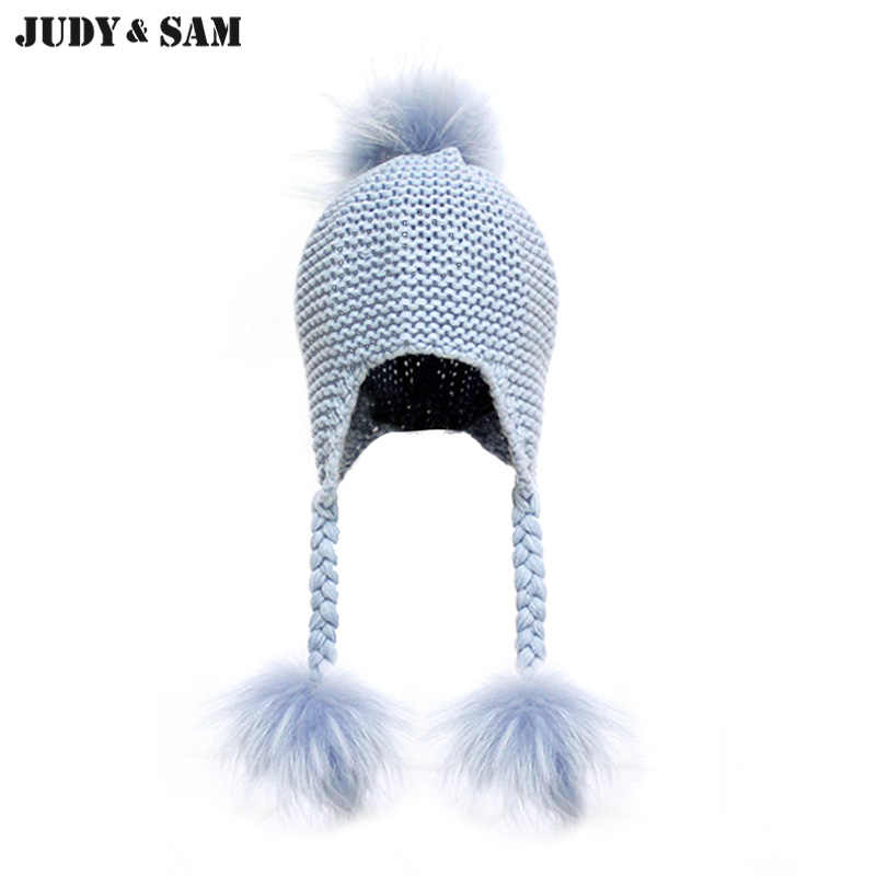 94672f00d5d New Unisex Soft Wool Blend Knitted Baby Hat 12 Colors Real Raccoon Fur Pom  Pom Kids
