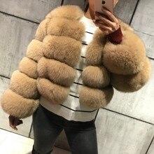 FURSARCAR New Fashion Natural Real Blue Fox Fur Women Natural Genuine Fur Jackets Coats Female 5 Row Short Outerwear Girls