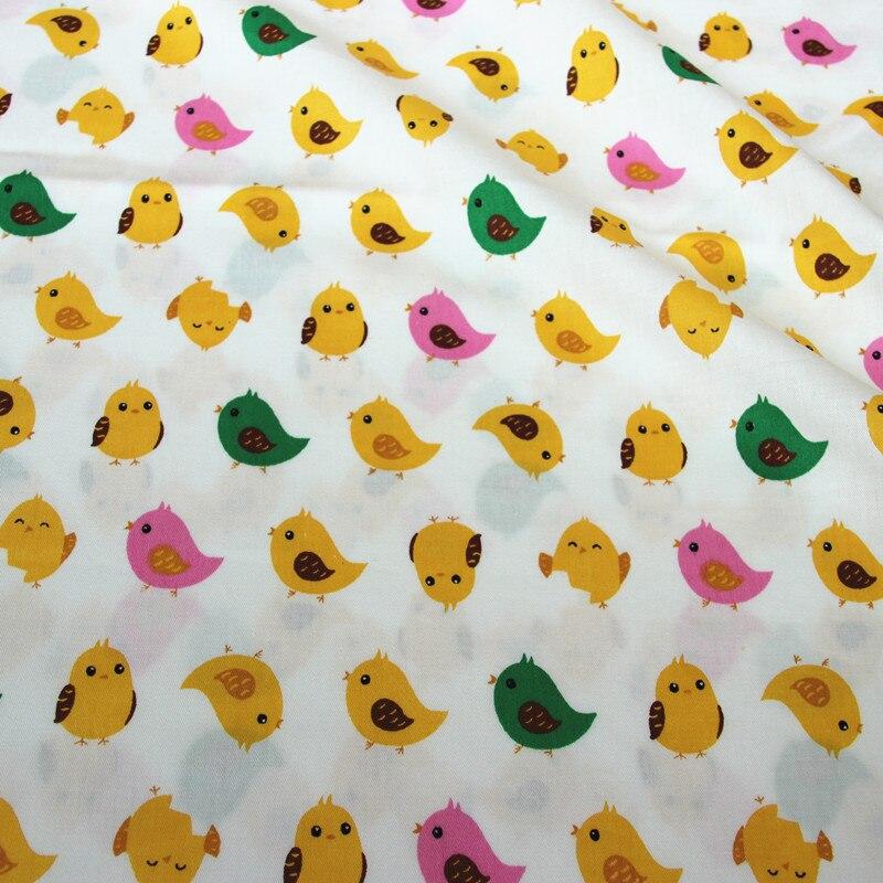 100% cotton twill cloth cartoon cute white green dark ink-blue chicken fabric for DIY crib cushions apparel quilting handwork