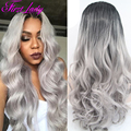 Cheap Lace Front Wigs Synthetic Grey Ombre Wig Long Body Wave Perruque Cheveux Synthetic Heat Resistant Synthetic Wigs Free Ship
