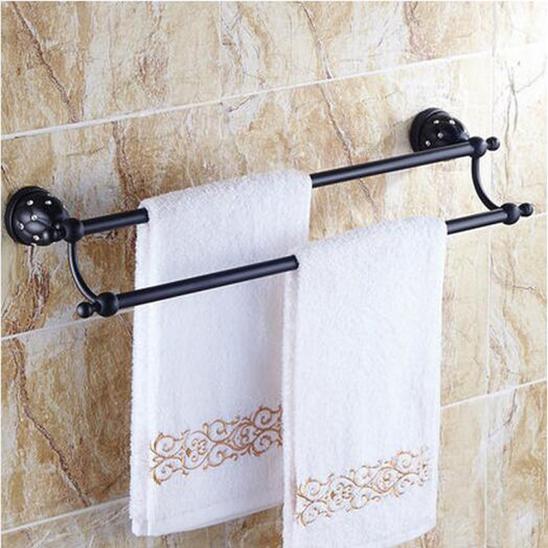 Wholesale And Retail Luxury Crystal Mosaic Oil Rubbed Bronze Towel Rack Holder Dual Towel Bars Towel Hanger newly jade toothbrush holder rack oil rubbed bronze dual cup