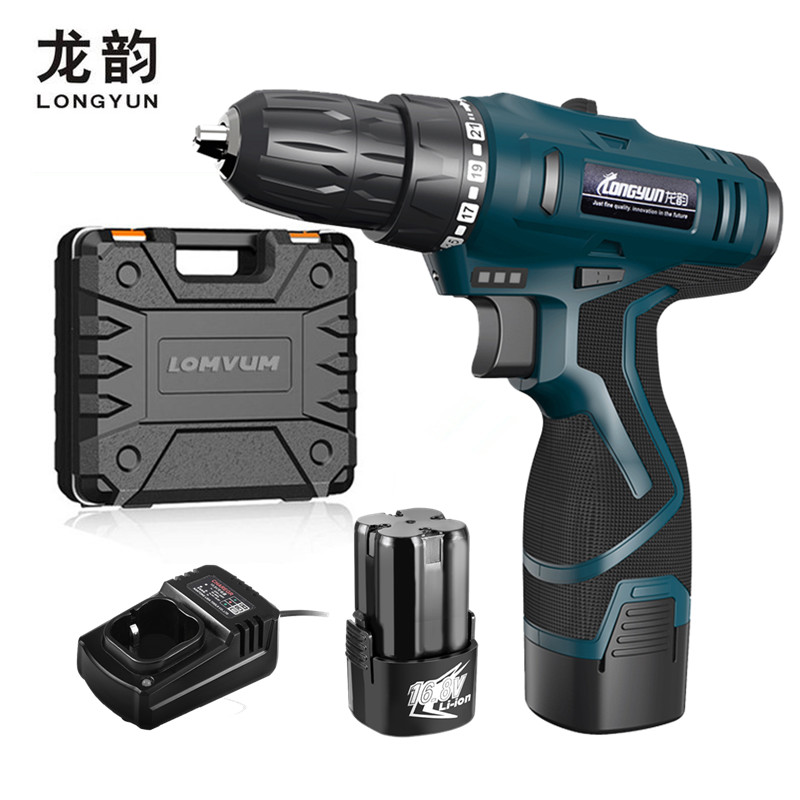 LONGYUN Rechargeable Lithium Battery*2 Cordless home 12V Electric Drill bit wall 16.8V Electric Screwdriver with Plastic case