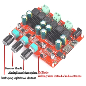 Image 3 - HiFi TPA3116D2 4.2 Bluetooth 2.1 ערוץ סטריאו דיגיטלי אודיו כוח סאב מגברי לוח 50W * 2 + 100W FM רדיו USB Mp3 לשחק