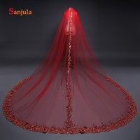 Red Tulle Arabic Wedding Veils Long Appliques Edge Shiny Bridal Veil with Comb One Layer 3 Meters Church Bride Veil V51