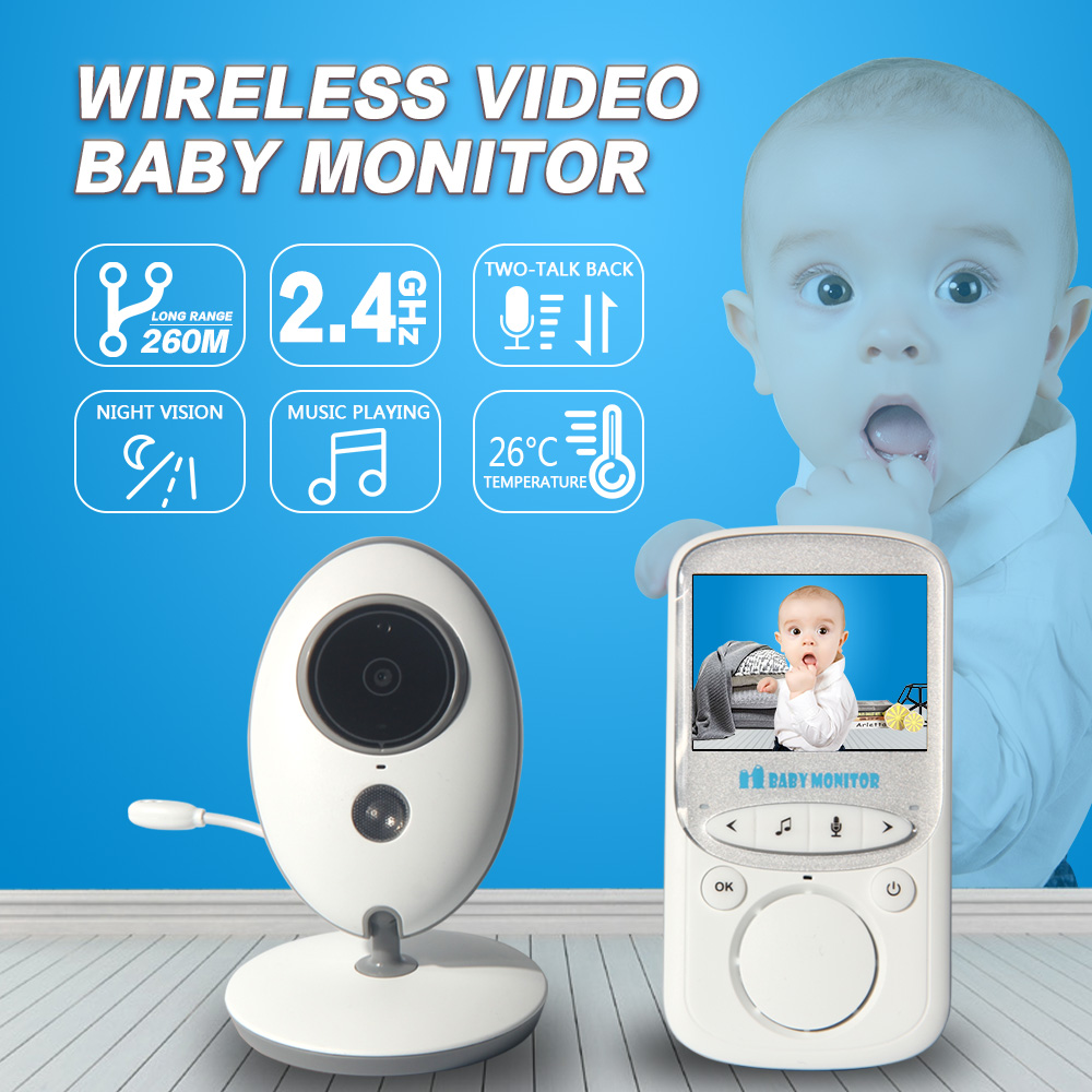 INQMEGA Wireless LCD Audio Video Baby Monitor Radio IR 24 hours Music Intercom Portable Baby Camera Baby Walkie Talkie Babysitt 2pcs mini walkie talkie uhf interphone transceiver for kids use two way portable radio handled intercom free shipping