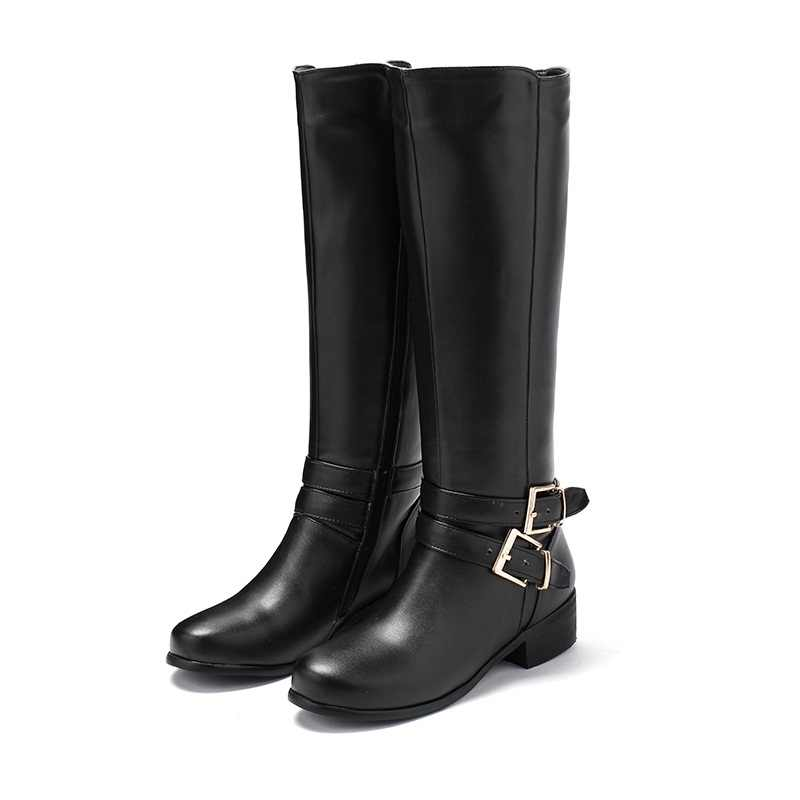 ASUMER artı boyutu 34-46 kadın kar botları toka zip Retro kadın diz yüksek çizmeler kalın kürk sıcak kış botları damla gemi
