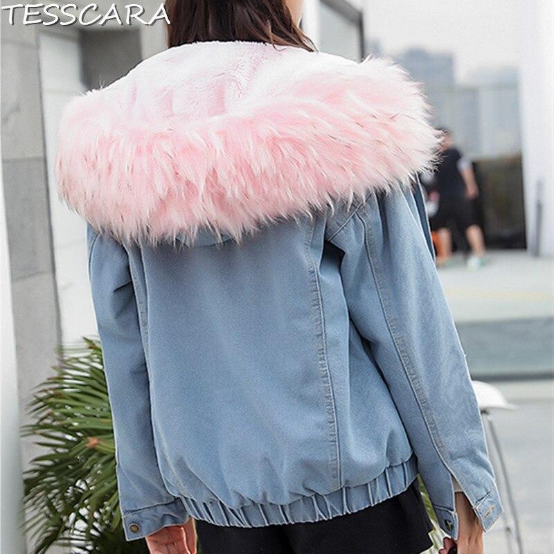 amp; grey Base Parka Vêtements Et Veste Automne Manteau Hiver Vestes Tesscara Bomber Avec Femelle Denim Pink Femmes white De Fourrure Jeans Capuche Manteaux Faux 5B648wn