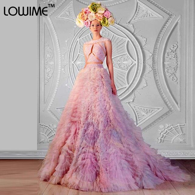 Nuevo color de rosa elegante de Tulle de invierno Vestidos noche ...