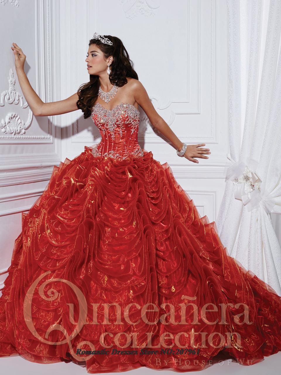 Venta caliente Red Vestidos de Quinceañera 2016 Vestido de Fiesta Novia con Crystal beatles Durante 15