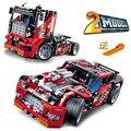 608 pcs corrida de caminhão do carro 2 em 1 modelo transformable brinquedos conjuntos de blocos de construção decool 3360 diy compatível