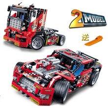 608pcs Race Truck Car 2 In 1 Transformable Model Building Block Sets Decool 3360 DIY Toys Compatible