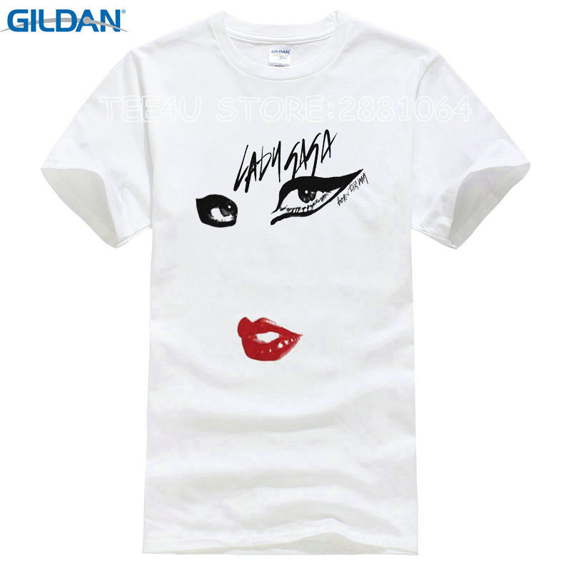 Gildan Rushed Promotion Fashion Cotton T Shirt Websites Lady Gaga Just Eyes Lips Printed Tee For Men