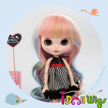 9-10 inch Blyth Doll Hair High Temperature Fiber Long Wave Rainbow Wigs for with 24-25cm Head Circumference